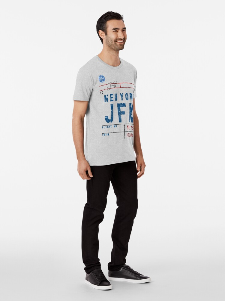 Alternate view of JFK John F. Kennedy Int'l Airport Vintage Airline Tag Design Premium T-Shirt