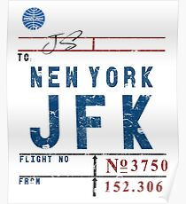 JFK John F. Kennedy Int'l Airport Vintage Airline Tag Design Poster