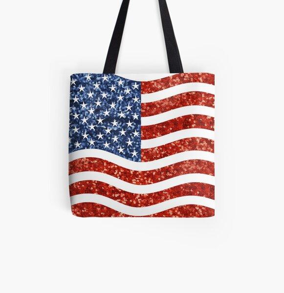 glitter print american flag All Over Print Tote Bag