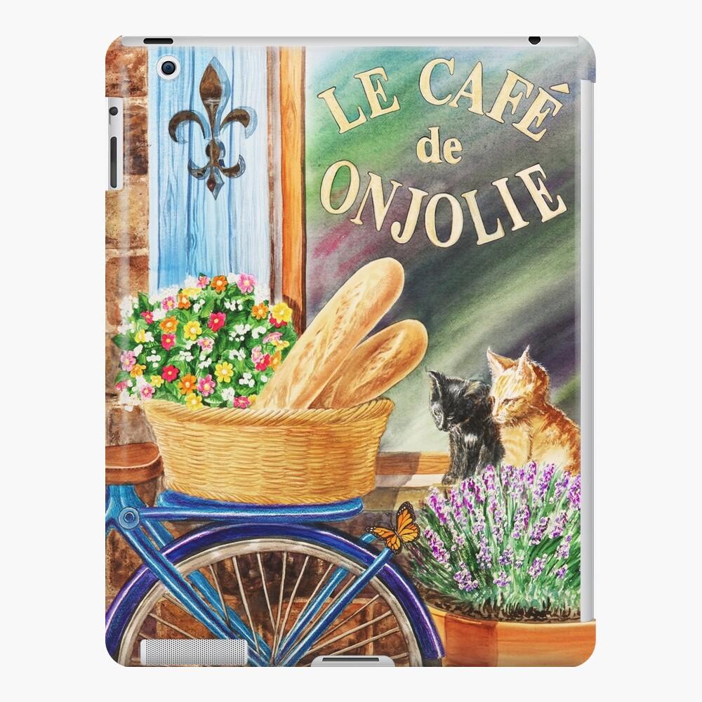 Bicicleta con cesta en la ventana del café Funda y vinilo para iPad