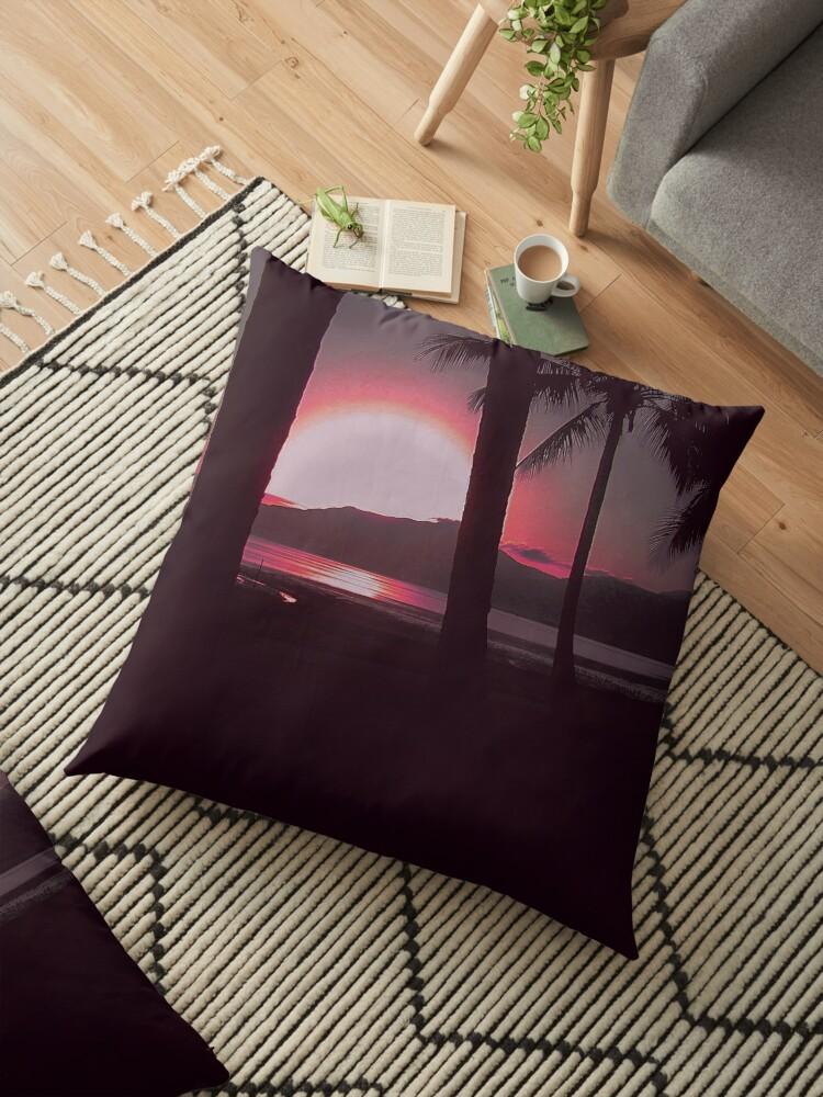 Australian Beach Palm Tree Sunrise in Red by LoraMaze