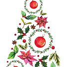 Slim Christmas Tree Cute Design - pillows, stickers and more by vasylissa