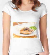 Salmon with Portobello Mushrooms Women's Fitted Scoop T-Shirt