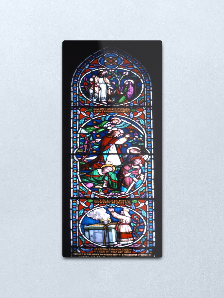 Alternate view of Stained glass window, St Mary's, Lindisfarne (Holy Island) Church Metal Print