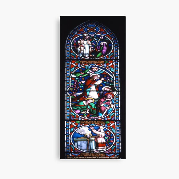 Stained glass window, St Mary's, Lindisfarne (Holy Island) Church Canvas Print