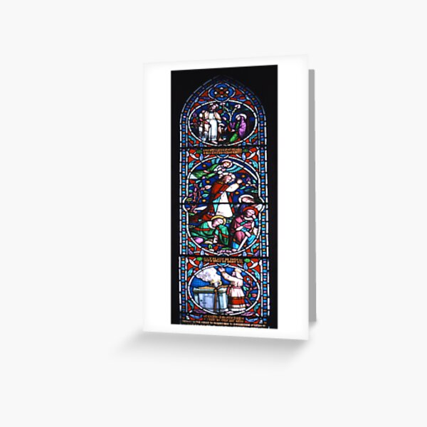 Stained glass window, St Mary's, Lindisfarne (Holy Island) Church Greeting Card