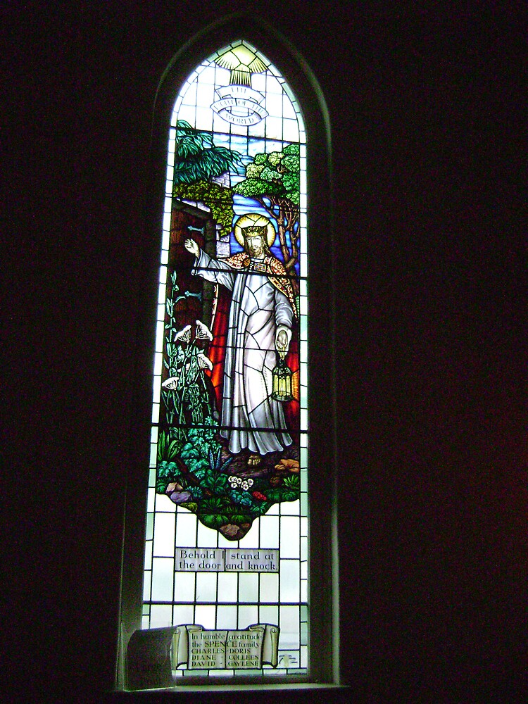 Church Stain Glass(CHRISTMAS CARD) by JAMES ANDREW BANNERMAN