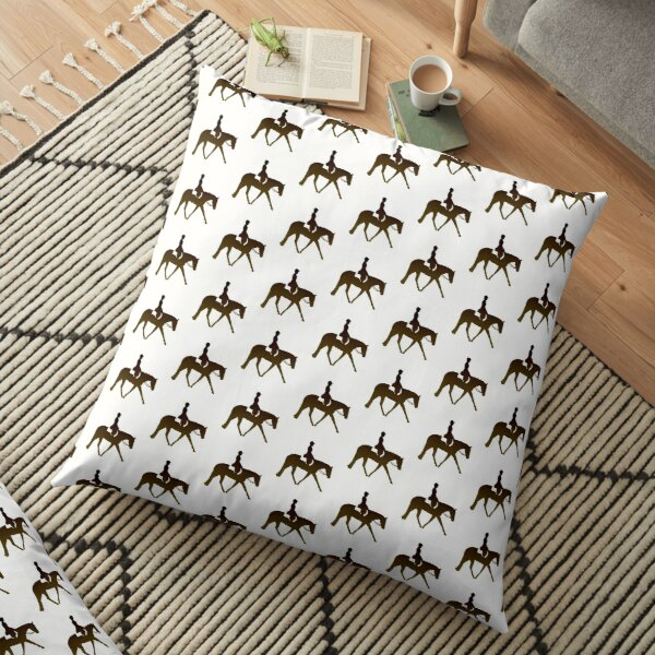Ombre Brown Hunter Horse And Rider Floor Pillow