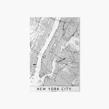 New York White Map Art Board Print