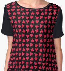 Tiny Red Hearts on Black Chiffon Top