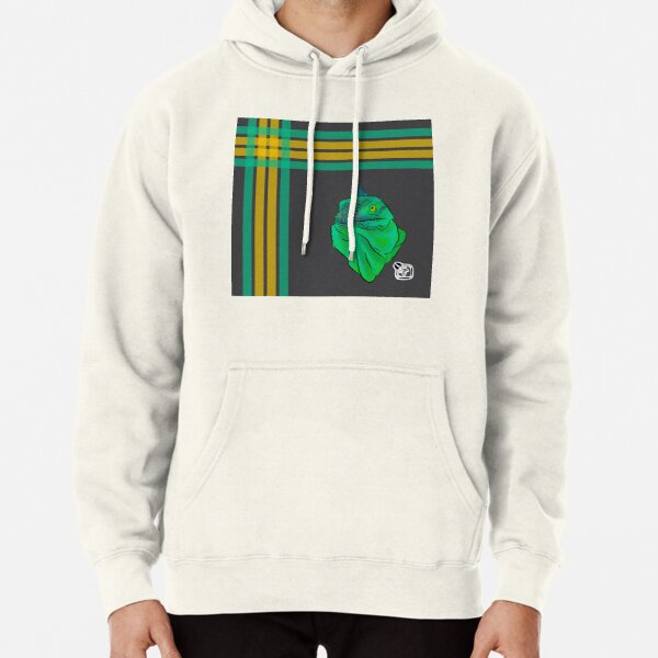 Teal and Green Iguana Plaid Pullover Hoodie