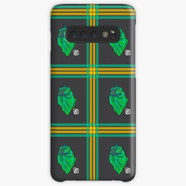 Teal and Green Iguana Plaid Samsung Galaxy Snap Case