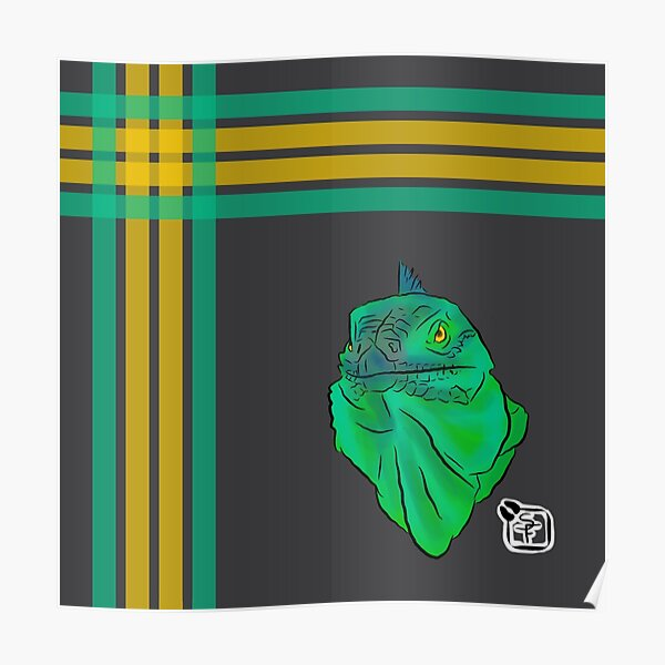 Teal and Green Iguana Plaid Poster