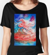 Cool Blue And Red Abstract Girly Marbling Pattern Women's Relaxed Fit T-Shirt