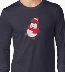 Cute Penguin on Ice Skates Long Sleeve T-Shirt