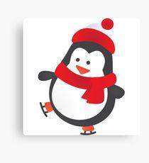 Cute Penguin on Ice Skates Canvas Print