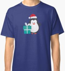 Cute Christmas Penguin with Gift and Santa Hat Classic T-Shirt