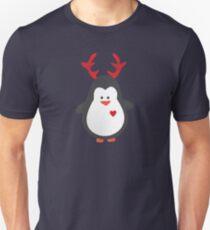 Cute Penguin with Reindeer Antlers T-Shirt