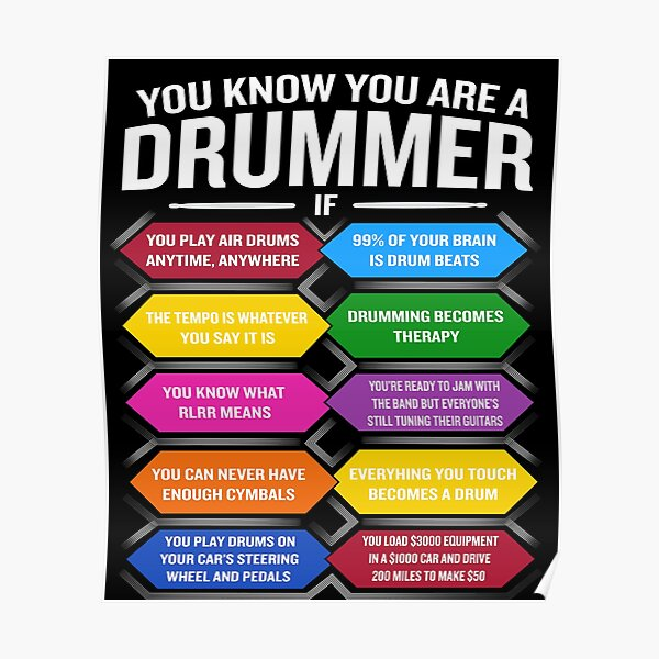 You're A Drummer If Funny Drum Quote Top 10 Signs Poster