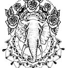 Floral Elephant Mandala by georgiamason