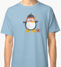 Cute Snorkeling Penguin with Tropical Starfish Classic T-Shirt
