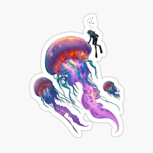 jellyfish with scuba diver, ocean lover saline Sticker