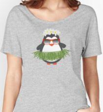 Cute Hawaiian Hula Penguin with Sunglasses Women's Relaxed Fit T-Shirt