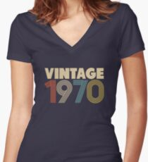Vintage 1970 - 48th Birthday Women's Fitted V-Neck T-Shirt