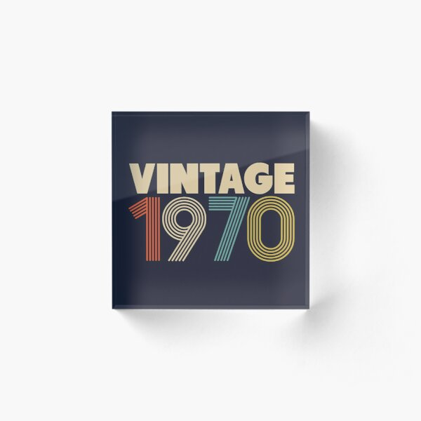 Vintage 1970 - 48th Birthday Acrylic Block
