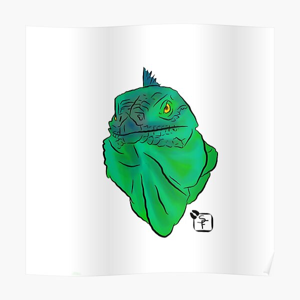 Teal and Green Iguana Poster