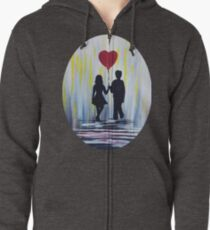 Valentine Couple With Heart Balloon Zipped Hoodie