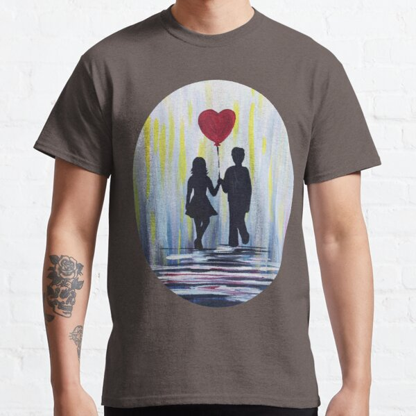 Valentine Couple With Heart Balloon Classic T-Shirt
