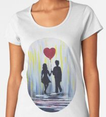 Valentine Couple With Heart Balloon Women's Premium T-Shirt
