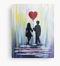 Valentine Couple With Heart Balloon Metal Print