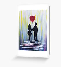 Valentine Couple With Heart Balloon Greeting Card