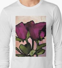 Pink Purple Roses with Green Stems and Leaves T-Shirt