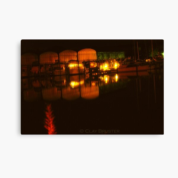 Night At The Point In Colonial Beach Virginia Canvas Print