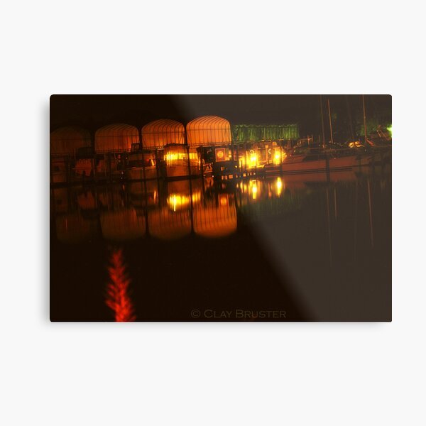 Night At The Point In Colonial Beach Virginia Metal Print