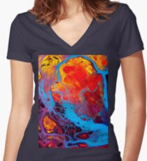 Cute Colorful Trendy Abstract Watercolor Pattern Phone Case Women's Fitted V-Neck T-Shirt