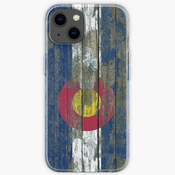 Flag of Colorado on Rough Wood Boards Effect iPhone Soft Case