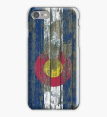 Flag of Colorado on Rough Wood Boards Effect iPhone Case/Skin