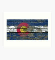 Flag of Colorado on Rough Wood Boards Effect Art Print