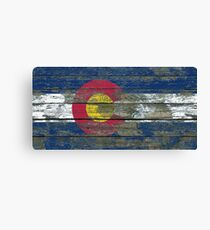 Flag of Colorado on Rough Wood Boards Effect Canvas Print