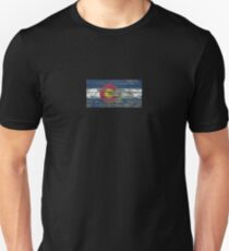 Flag of Colorado on Rough Wood Boards Effect Unisex T-Shirt