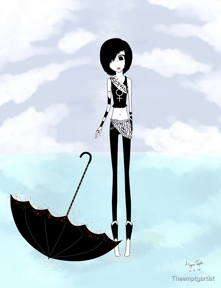 BW Girl Umbrella by Theemptyartist
