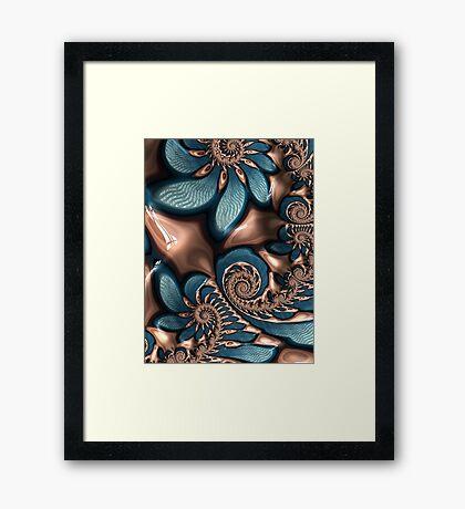 Teal and Chocolate Swirl  Framed Print