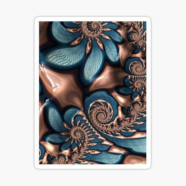 Teal and Chocolate Swirl - Blue Brown Fractal Spirals Sticker