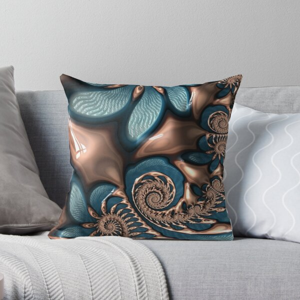 Teal and Chocolate Swirl - Blue Brown Fractal Spirals Throw Pillow