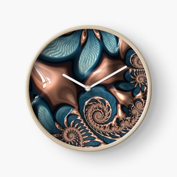 Teal and Chocolate Swirl - Blue Brown Fractal Spirals Clock