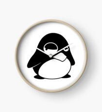 TUX Penguin in a bad mood, LINUX Clock